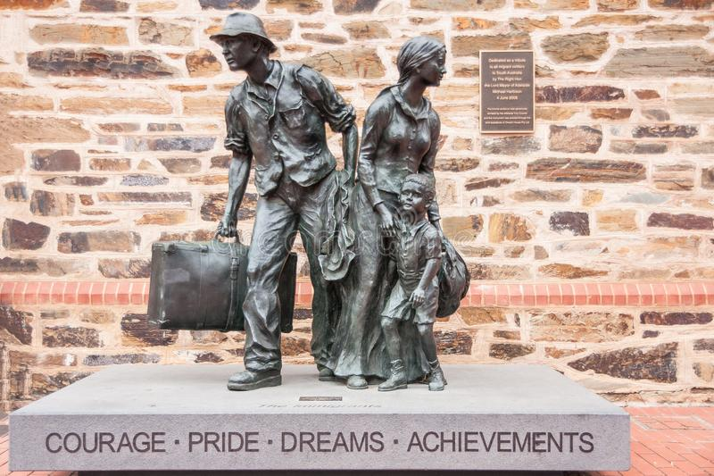 Migrant statue in Adelaide, Australia. royalty free stock photography