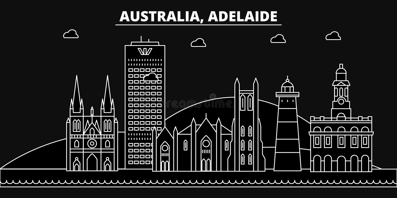 Adelaide silhouethorizon De vectorstad van Australië - Adelaide, Australische lineaire architectuur, gebouwen adelaide royalty-vrije illustratie