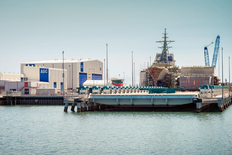 ASC air warfare destroyer construction. Adelaide, South Australia - January 26, 2014: Australian Submarine Corporation Air warfare destroyer HMAS Hobart in the royalty free stock image