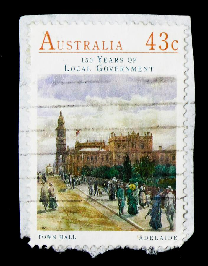 Adelaide Town Hall, World Stamps Expo 2013 serie, circa 1990 stock photography