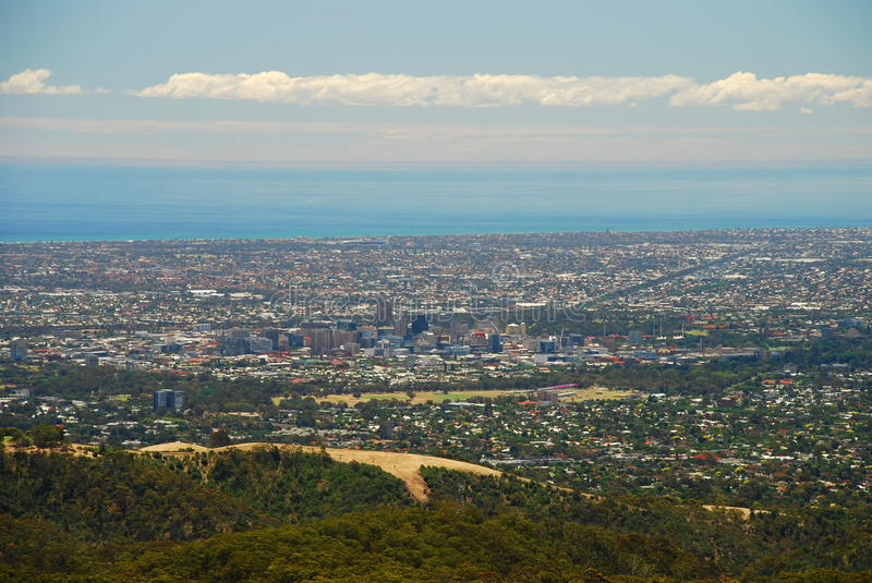 Adelaide view from Mount Lofty. South Australia. Australia. Mount Lofty is the highest point in the southern Mount Lofty Ranges. It is located about 15 km east stock images