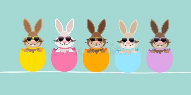 Adelgace la bandera cinco Pascua Bunny Eggshell Sunglasses Turquoise libre illustration