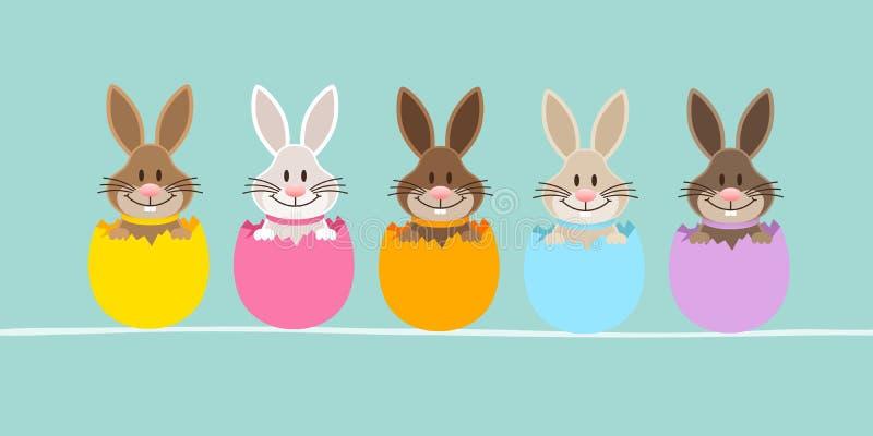 Adelgace la bandera cinco Pascua Bunny Eggshell Turquoise ilustración del vector