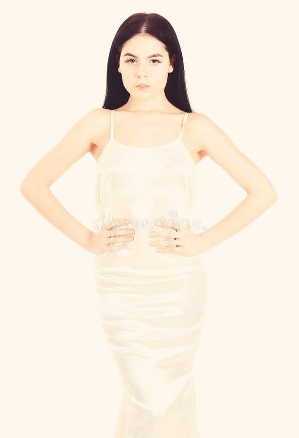 Adelgace y quepa el concepto Modelo de moda con la figura delgada como resultado de la dieta y de la aptitud La se?ora en cara tr imagen de archivo libre de regalías
