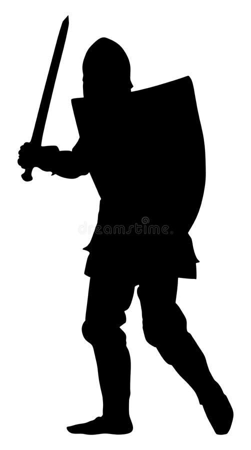 Adeln Sie in der Rüstung, mit Klingen-, Sturzhelm- und Schildschattenbild Mittelalterlicher Held im Kampf vektor abbildung