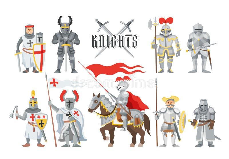 Adeln Sie mittelalterlichen Ritterstand des Vektors und ritterliche Charakterleute mit Sturzhelmrüstungs- und knightage Klingenil lizenzfreie abbildung
