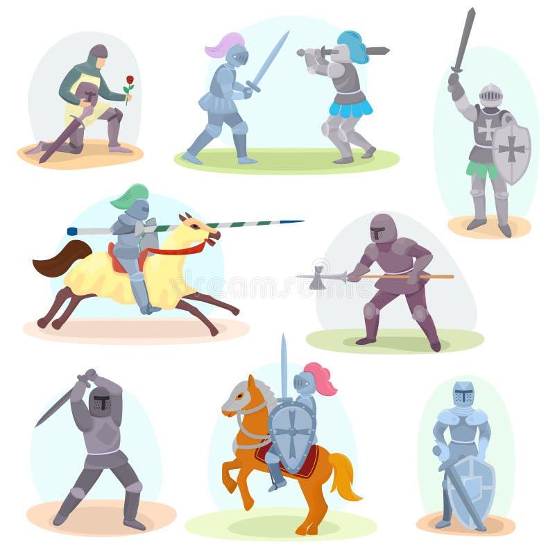 Adeln Sie mittelalterlichen Ritterstand des Vektors und ritterlichen Charakter mit Sturzhelmrüstungs- und knightage Klingenillust stock abbildung