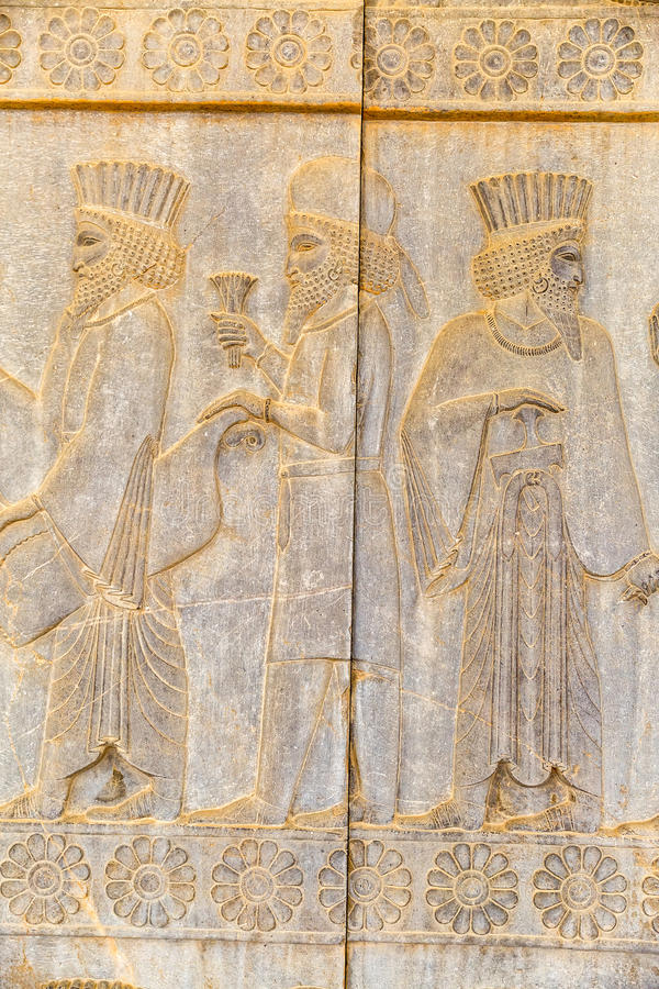 Adelsmanlättnadsdetalj Persepolis arkivfoto