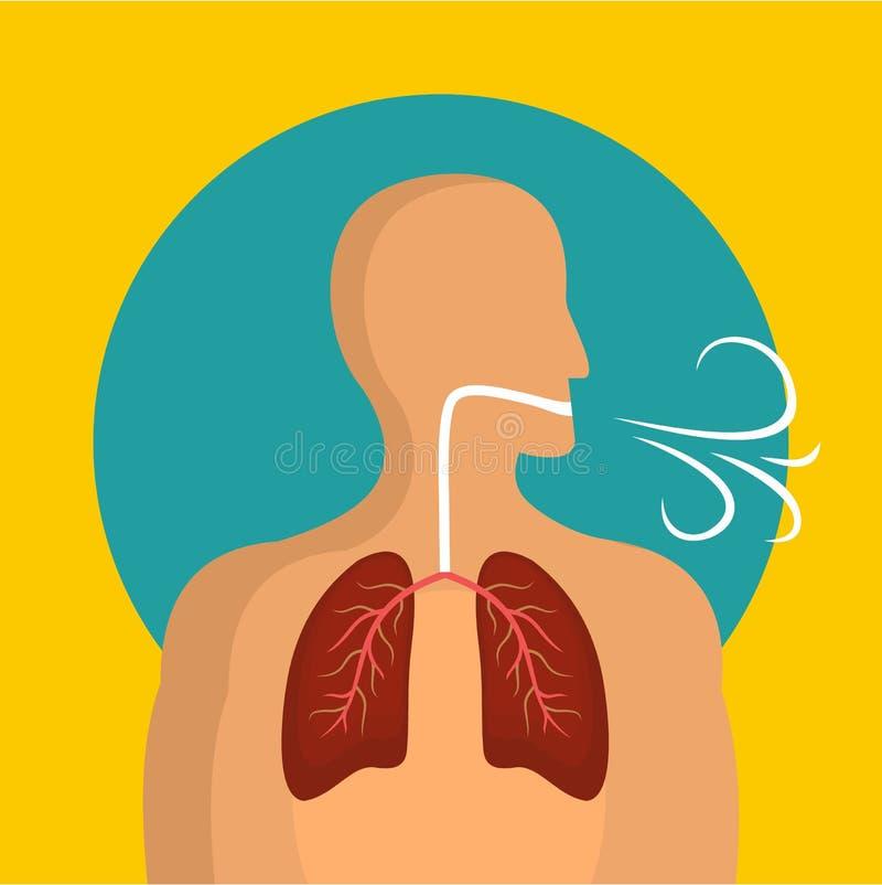 Ademend longenpictogram, vlakke stijl vector illustratie