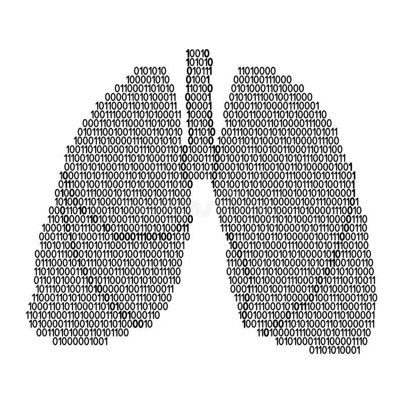 Ademhalings het orgaan abstract schema van de longen menselijk anatomie van zwarte degenen en nul binaire digitale code Vector il stock illustratie