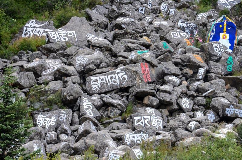 Aden Buddhist mani stenar arkivbilder