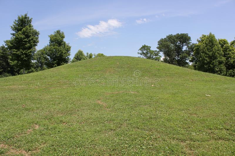 Adena Burial Mound at Serpent Mound. Of Ohio, United States. This Mound was built by the Fort Ancient culture around 1070 CE. Serpent Mound is the largest stock photos