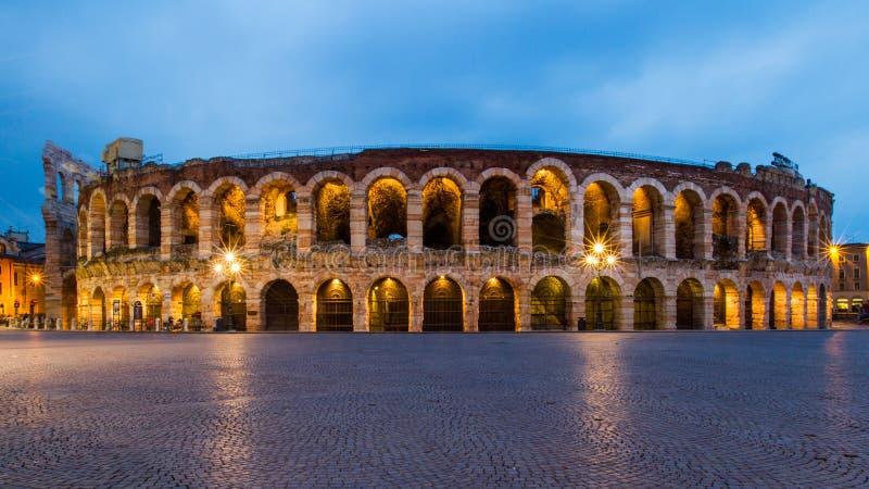Adena di Verona. Old city of Verona during the evening. Long exposure photography stock images