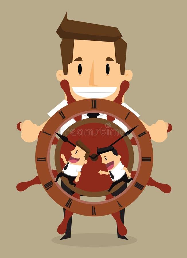 Adepto do controle do homem de negócios com como o controle que dirige o barco ilustração stock