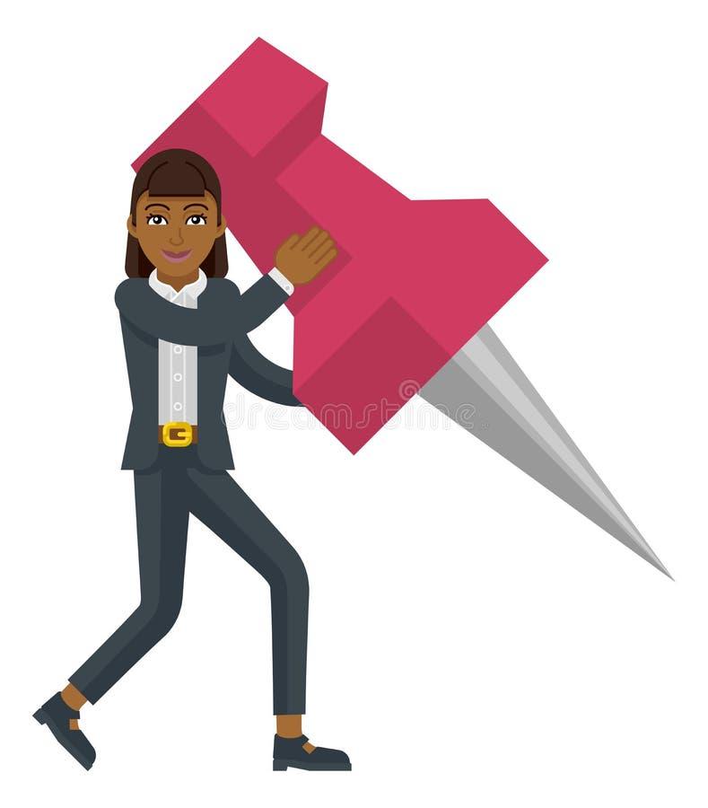 Aderência de polegar Pin Mascot da terra arrendada da mulher de negócio ilustração do vetor