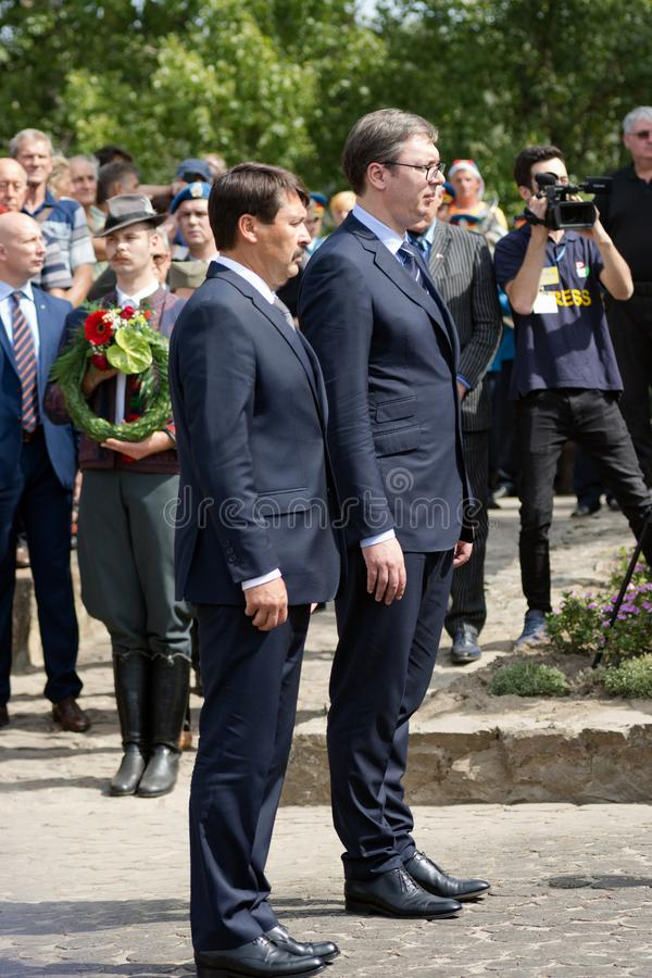 Ader Janos and Aleksandar Vucic. The Serbian president Aleksandar Vucic and the Hungarian president Janos Ader are standing together in Senta town in Serbia at royalty free stock photos