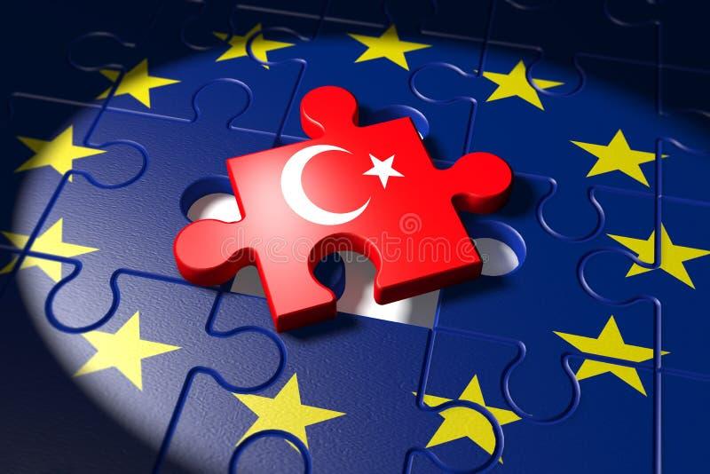 Adesões entre a UE e a Turquia simbolizadas como a ilustração do vetor