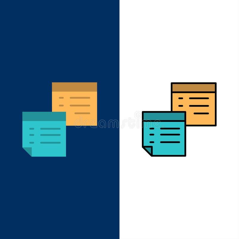 Adesivo, Arquivos, Nota, Notas, Escritório, Páginas, Ícones de Papel Plano de fundo azul do conjunto de ícones de linha e plano ilustração royalty free