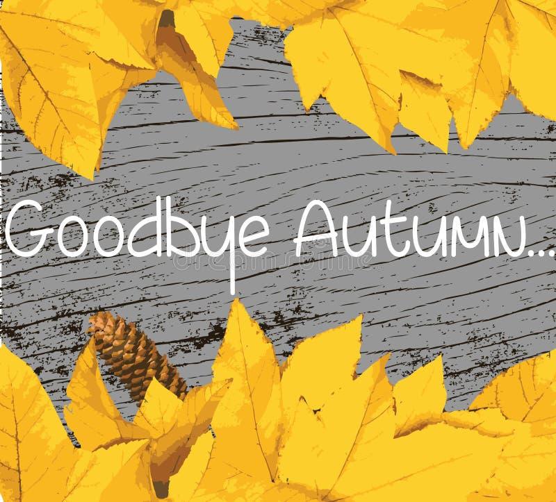 Adeus bandeira do texto do outono ilustração stock