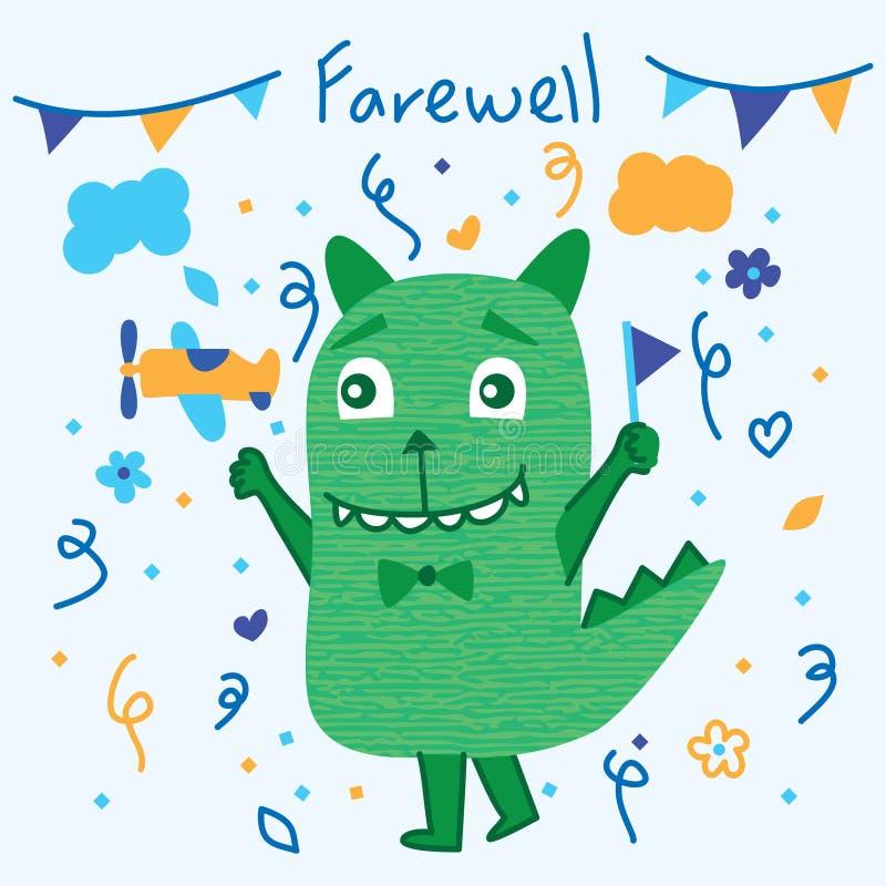 Adeus bonito do monstro ilustração stock