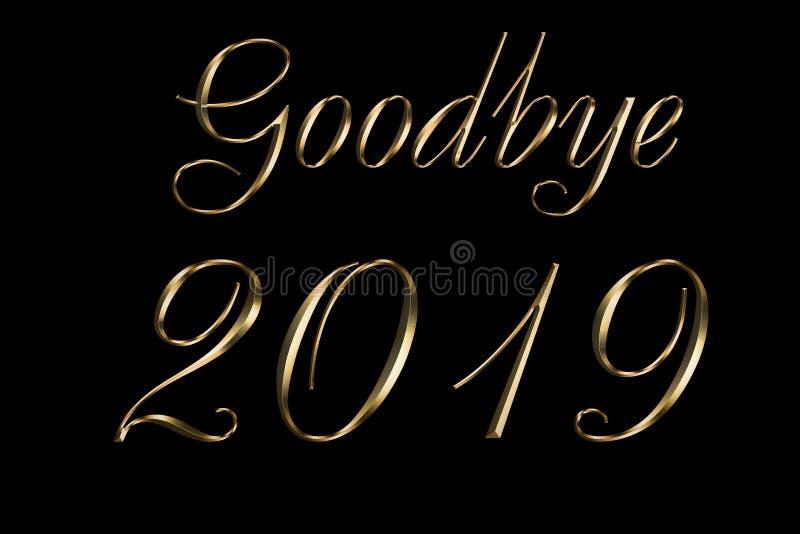 Adeus fundo do preto do ano 2019 novo feliz Projeto do texto do ouro Ilustração de cumprimento escura com números dourados melhor imagens de stock royalty free
