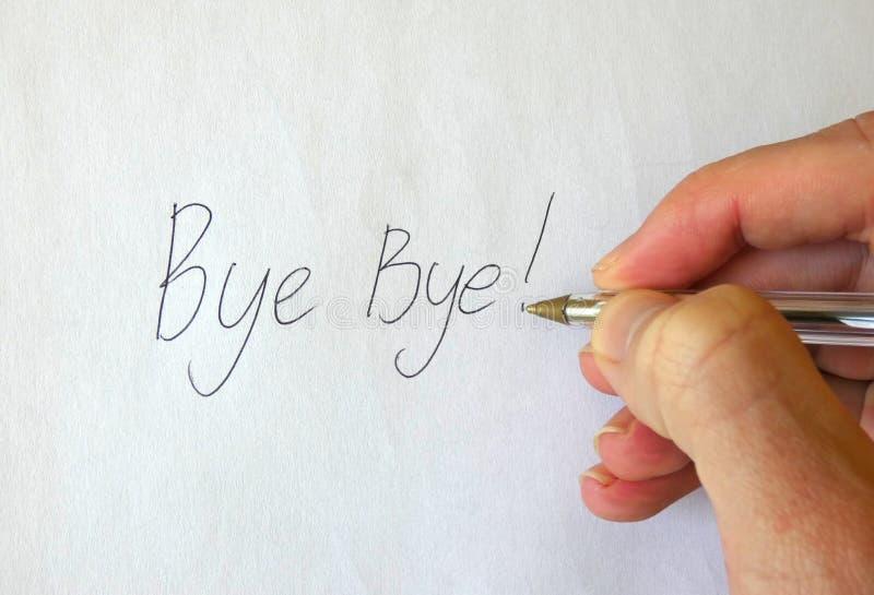 Adeus! Mão da escrita imagem de stock royalty free