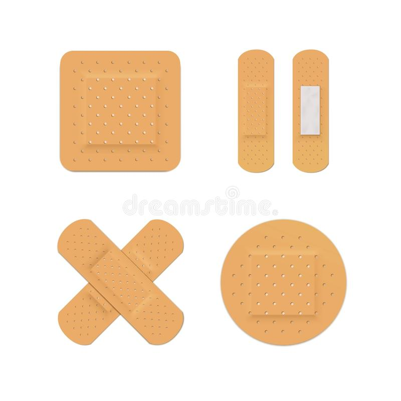 Adhésif médical de bande d'aide de plâtre de bandage de vecteur illustration de vecteur