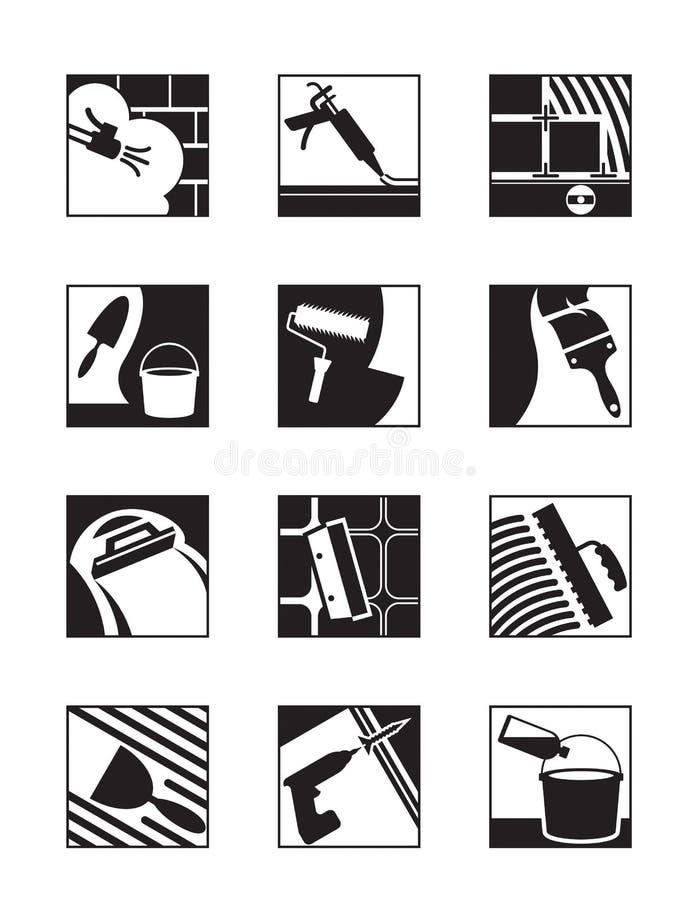 Adhésifs et mélanges de construction illustration stock