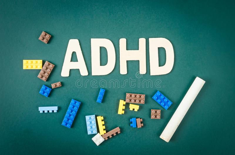 ADHD –注意力不集中活动过度混乱概念 库存图片