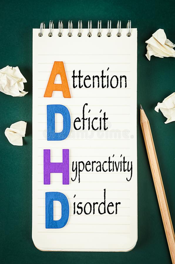 ADHD –注意力不集中活动过度混乱概念 免版税图库摄影