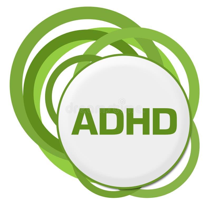 ADHD - Anillos verdes al azar del desorden de la hiperactividad del déficit de atención stock de ilustración