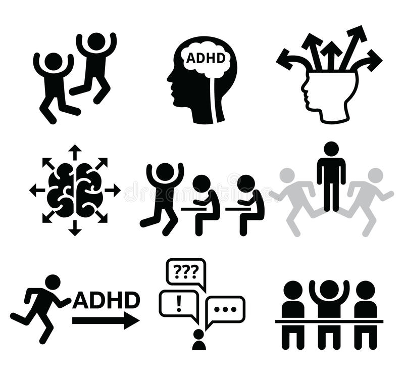 ADHD - Attention deficit hyperactivity disorder vector icons set. Health icons set - people wish ADD or ADHD icons on white royalty free illustration