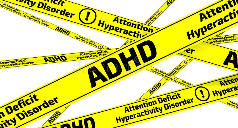ADHD. Attention deficit hyperactivity disorder. Yellow warning tapes royalty free illustration