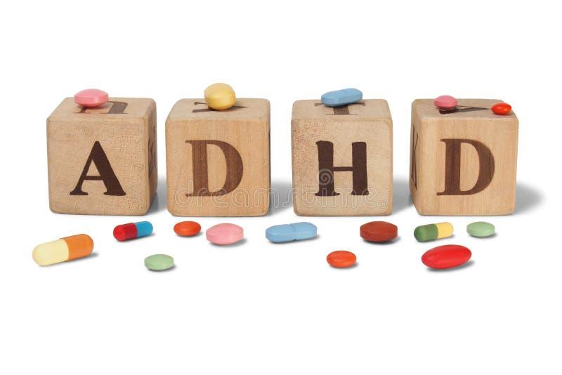 ADHD auf Holzklötzen lizenzfreie stockfotos