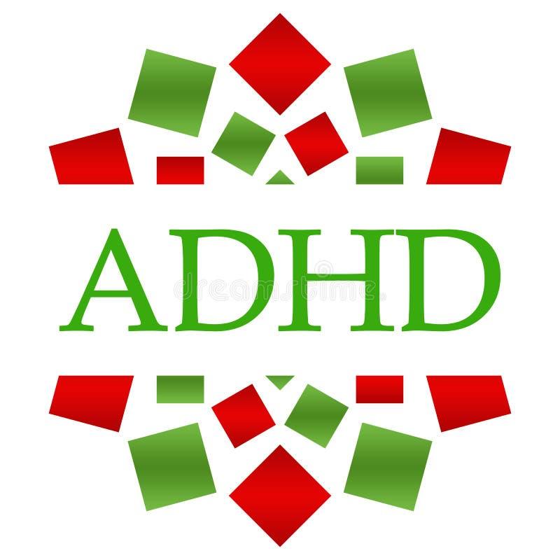 ADHD - Circular verde roja del desorden de la hiperactividad del déficit de atención ilustración del vector