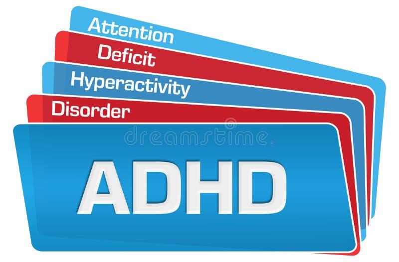 ADHD - Cuadrados redondeados azul rojo del desorden de la hiperactividad del déficit de atención libre illustration