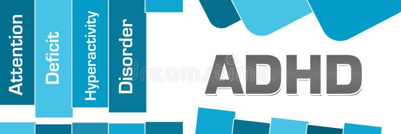ADHD - Cuadrados redondeados de las rayas azules del desorden de la hiperactividad del déficit de atención stock de ilustración