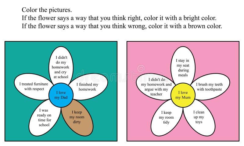 ADHD-de pagina van de bloemkleur vector illustratie