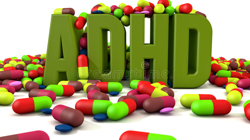 ADHD disorder 3d text stock illustration