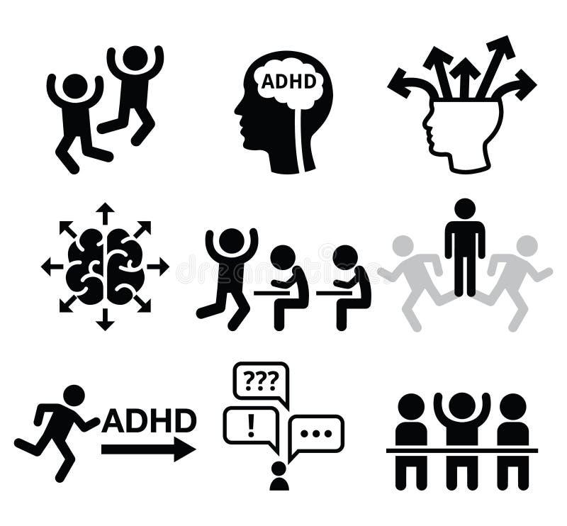 ADHD - Iconos del vector del desorden de la hiperactividad del déficit de atención fijados libre illustration