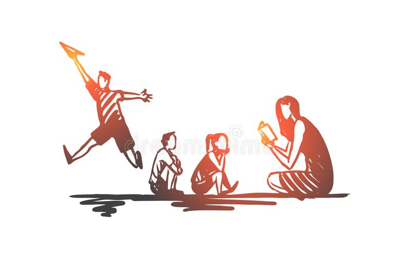 ADHD, kid, deficit, attention, hyperactivity concept. Hand drawn isolated vector. stock illustration