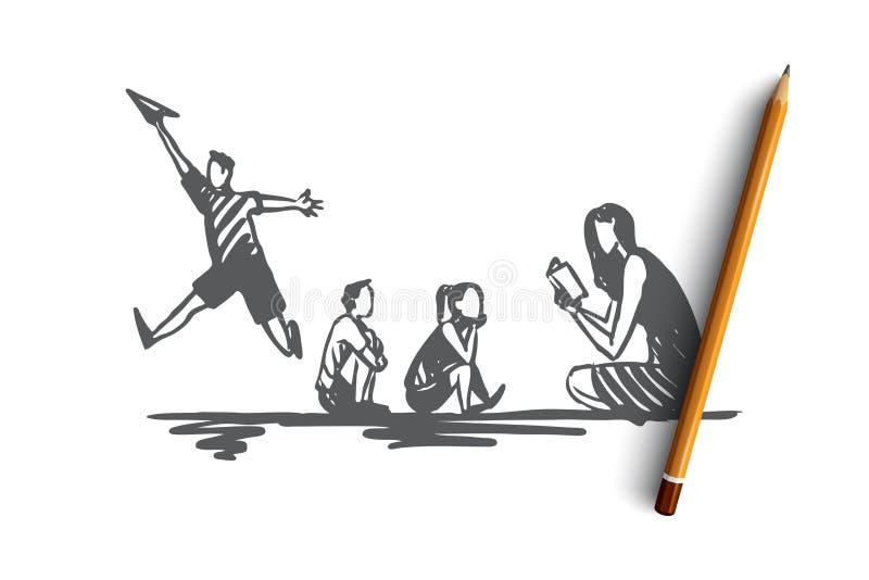 ADHD, Kind, Defizit, Aufmerksamkeit, Hyperaktivitätskonzept Hand gezeichneter lokalisierter Vektor stock abbildung