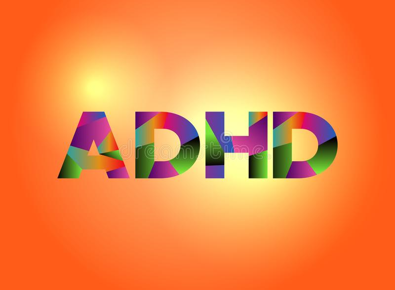 ADHD-Konzept-buntes Wort Art Illustration stock abbildung