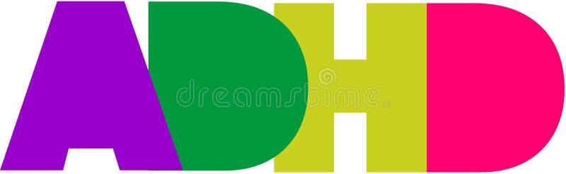 ADHD LOGO. ADHD MODERN LOGO COLORS SOLID FONT stock illustration