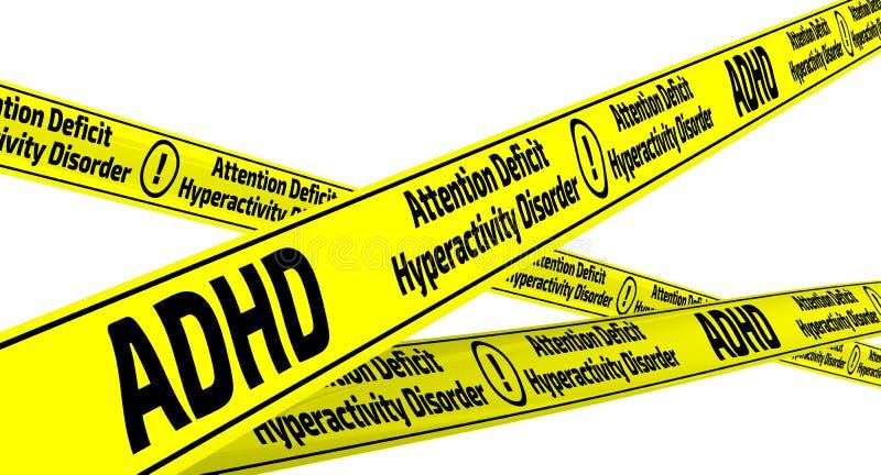 ADHD Oordning för Hyperactivity för uppmärksamhetunderskott Gula varningsband royaltyfri illustrationer