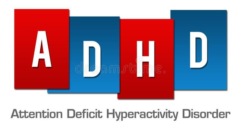 ADHD - Rayas azules rojas del desorden de la hiperactividad del déficit de atención ilustración del vector
