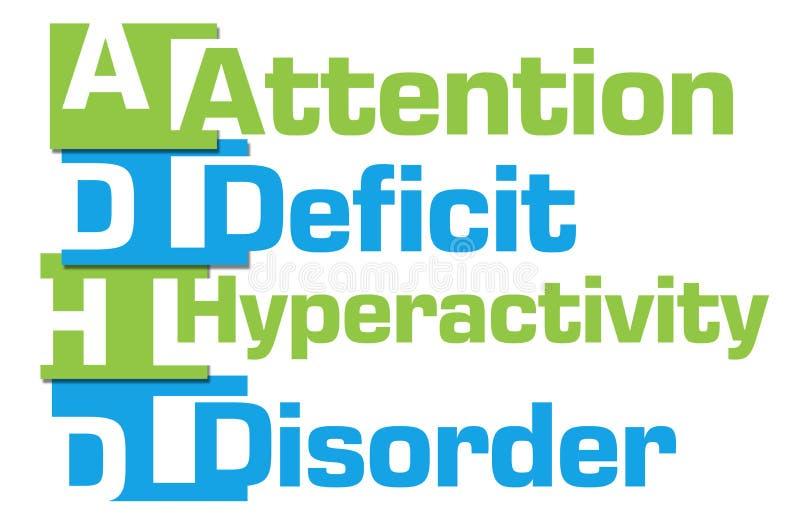 ADHD - Rayas azulverdes del desorden de la hiperactividad del déficit de atención stock de ilustración