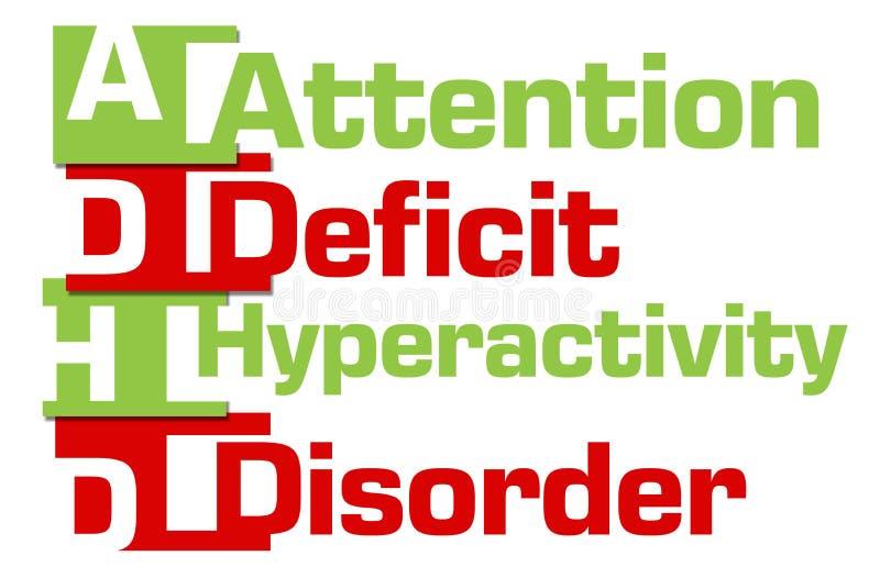 ADHD - Rayas verdes rojas del desorden de la hiperactividad del déficit de atención ilustración del vector