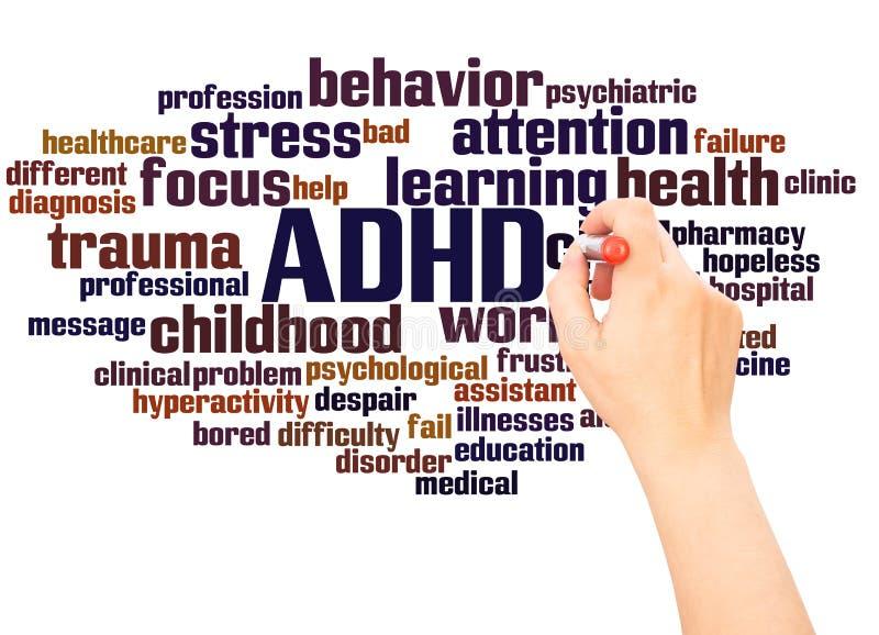 ADHD słowa chmury ręka pisze pojęciu zdjęcie stock