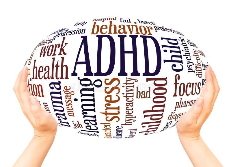 ADHD słowa chmury ręki sfery pojęcie zdjęcia royalty free